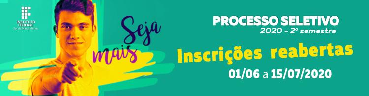 Inscrições para o Processo Seletivo 2020/2 foram reabertas. Confira mais informações!